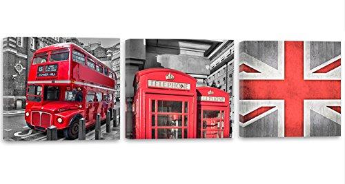 Feeby Frames, Cuadro en Lienzo - 3 Partes - Panorámico, Cuadro impresión, Cuadro decoración, Canvas 180x60 cm, Londres, AUTOBÚS, Telephone, Rojo
