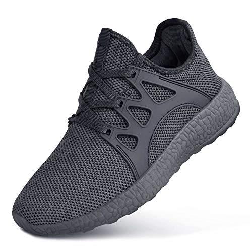 Feetmat Boys Sneakers Lightweight Breathable Kids Tennis Shoes for School Dark Grey3.5 Big Kid