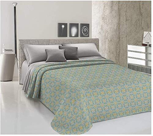 HomeLife Frühlings-Sommer-Tagesdecke aus Piqué [220 x 280], hergestellt in Italien, französisches Bett, Baumwolle, Muster, Tagesdecke für französisches Bett, 1,5 P, Grün
