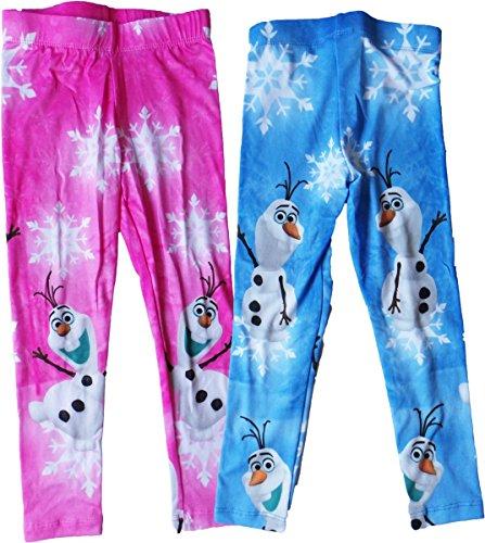 Disney Die Eisprinzessin Leggings - 2er Pack - Frozen - Hi Olaf - Pink/Blau/Mehrfarbig