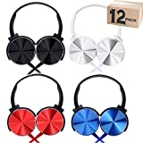 Bulk Headphones with Microphone 12 Pack Multi Colored for Classroom Kids,Wholesale Heavy Duty Wire Headsets with Mic Class Set for School Students Teen Children