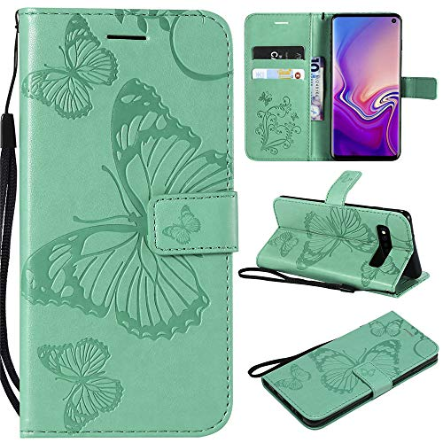 Nova 4 Wallet Cases Embossed 3D Butterfly PU Leater Flip Phone Case Cover for Huawei Nova 4 - Green