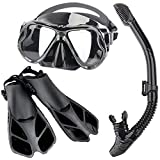 Frpower Profesional Adultos Snorkel Buceo con Escafandra Máscara contra La Niebla Gafas De Vidrios De La Natación Aletas Máscara del Salto Snorkel Aletas Snorkel Deporte Equipo Conjunto