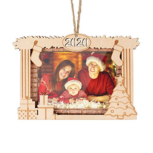 Creawoo Christmas 2020 Year-Dated Picture Frame, Xmas Hanging Wooden Ornament for Christmas Tree, Photo Ornaments Annual Keepsakes for Family, Friend or Colleague