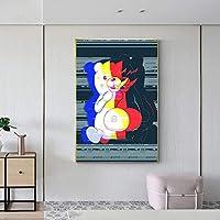 モノクマDanganronpa001絵プリントキャンバス壁アート絵画リビングルーム寝室壁画現代家の装飾壁掛け絵画