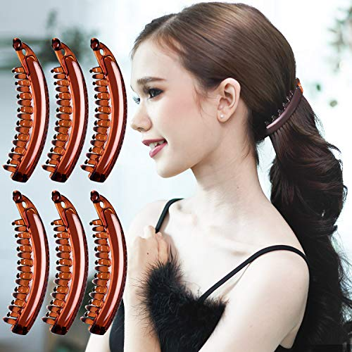 RC ROCHE ORNAMENT 6 Pcs Womens Premium Hair Plastic Banana Classic Clincher Strong Hold Ponytail Maker Styling Girls Ladies Beauty Accessory Clasp Clip, Medium Brown