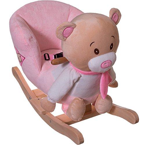 Stimo24 Schaukeltier / Baby Kind Schaukel (mit Sicherheitsgurt und Kippschutz) (BÄR ROSA)