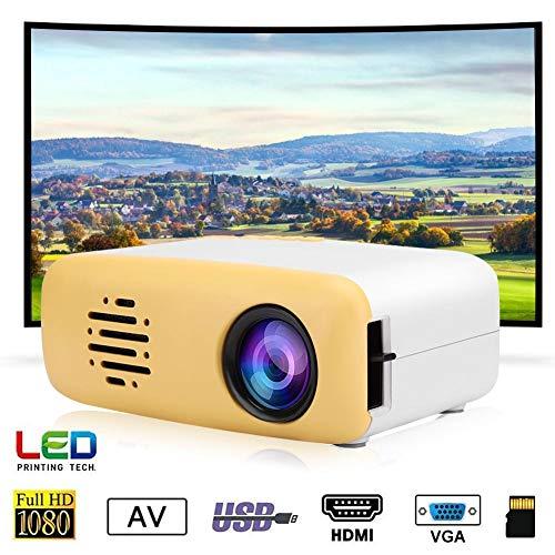 Mini HD Beamer Tragbarer LED Video Projektor 1080P Full HD Multimedia Heimkino Projektor Kompatibel mit HDMI VGA USB AV TF für Smartphone Laptop PC für Gaming Business&Education(EU-Stecker)