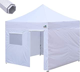 Eurmax Premium 10'x10' Ez Pop-up Canopy Tent Commercial Instant Canopies Shelter with Removable Sidewalls Bonus Wheeled Carry Bag (White)