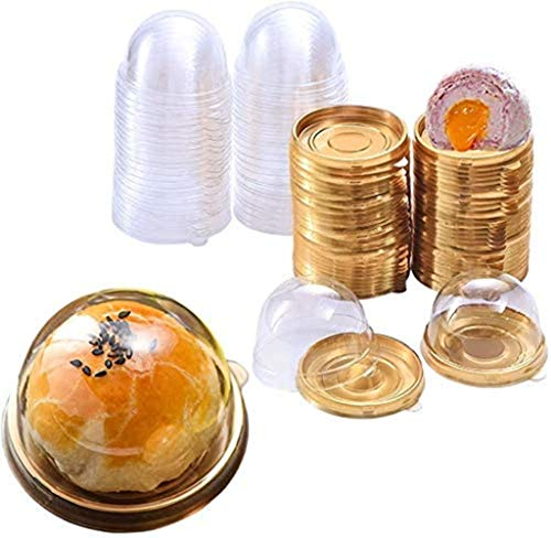 Caja para tartas, 50 unidades, caja para cupcakes, macarons, magdalenas, caja de plástico con tapa, caja transparente para pastel, pastel, pastel, galletas, pan de luna