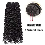 16'(40cm) Extensiones de Cabello Natural Cortina Rizado - Suave y Brillo - 100% Remy Hair Pelo Humano Virgen (100g,#1B Negro Natural,Water Wave)