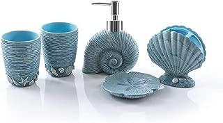 Wendin Nautical sea Themed Shells Starfish Shape Bath Accessory Set, Soap Dispenser Pump, Toothbrush Holder, Tumbler, Soap Dish