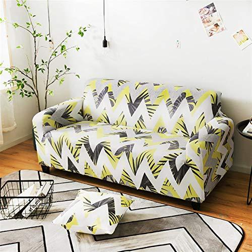 NEWRX Cubierta de sofá de patrón de Hoja nórdico Cubierta de sofá elástico de algodón Sofá Universal Cubiertas para la Sala de Estar Mascotas Decoración para el hogar Individual