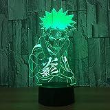 Naruto Goku Lámpara 3D Luz de Noche Lámpara LED de Escritorio Táctil Multicolor Alimentación USB Como Luces de Decoración Del Hogar para Niños Chicas Niños bebé