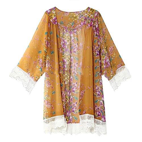 YYH Vrouwen Cardigan zomer nieuwe chiffon - met bloemen Kimono Cardigan zonwering strand-vertikkingen blouse tops X-Large geel