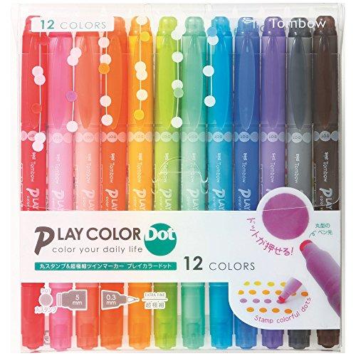トンボ鉛筆 水性サインペン プレイカラードット 12色セット GCE-011