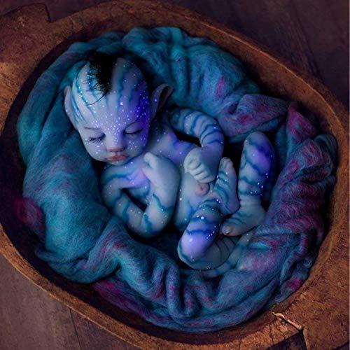 30CM Muñeca Reborn de silicona de cuerpo completo para dormir de con orejas puntiagudas, muñeca real hecha a mano similar con peso completo, muñeca de silicona hiperrealista para niña,Blue-55CM