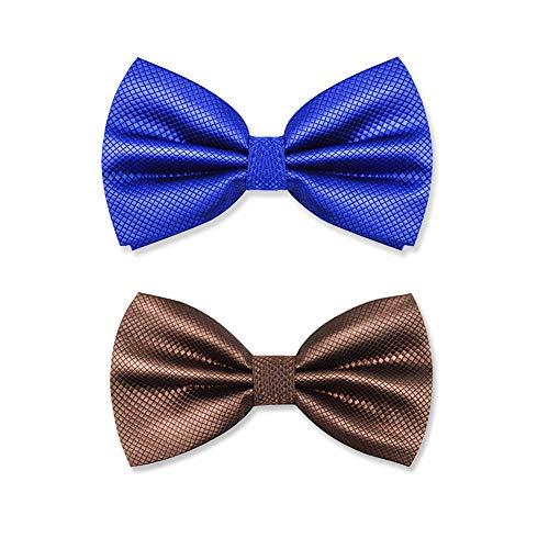 2 piezas Pajarita Hombre elegante con gancho con nudo y ajustable disponible en diferentes colores Azul Marrón