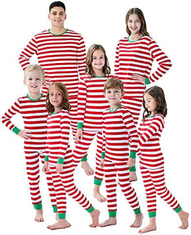 Matching Family Christmas Boys Girls Pajamas Stripe Mens Pjs Sleepwear Size XL Red White product image
