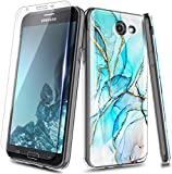 NZND Case for Samsung Galaxy J7 2017 (J727), J7 Prime/J7V/J7 Sky Pro/J7 Perx/Halo with Tempered Glass Screen Protector, Ultra Slim Thin Glossy Stylish, Gold Glitter Marble Design Case Cover -Glacier