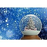 Haoyiyi 10x8ft Crystal Ball Backdrop Snowing Ball Christmas Tree Gift Box Dreamy Bokeh Halo Glitter Photography Background Kids Winter New Year Xmas Festival Celebration Photo Banner Studio Props