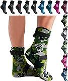 BPS - 'Soft Skin' Neoprene Water Socks (High Cut) - Green Camo w/White Logo - XS