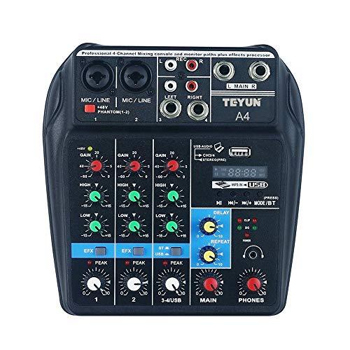 Lilideni Console di missaggio audio BT a 4 canali portatile Mixer audio digitale Effetti di riverbero integrati per la registrazione di DJ Network Liv
