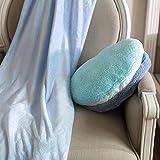 R.S. Linda Terciopelo Felpa Juego de Almohadas y Mantas 3 EN 1 Plegable Aire Acondicionado Coche Manta 110x160cm (43x63 Pulgadas),Blue