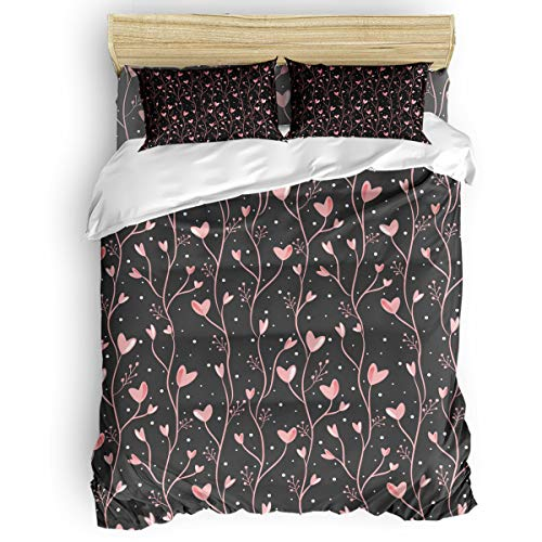 Amaze-Home Pink Love 4 Pieces Bedding Sets Queen Flannel Duvet Cover Sheet Bedspread with 2 Decorative Pillow Shams for Bedroom Dorm Hotel Grey