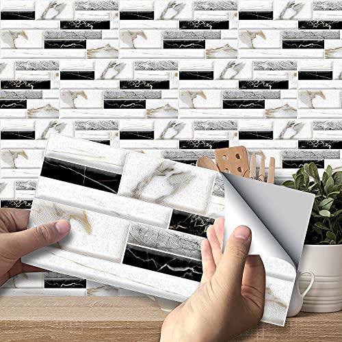 Swinno 54 pegatinas para azulejos de imitación de mármol para pared, pegatinas de ladrillo, autoadhesivas, impermeables, para decoración de baño (20 x 10 cm)