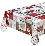 emmevi Mantel navideño antimanchas plastificado para cocina con corazones, estilo Shabby Chic, 10, 140 x 100 cm