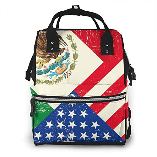 Retro Mexico American Flag Baby Diaper Bag Backpack,Multi-Function Waterproof Large Capacity Travel Nappy Bags For Mom