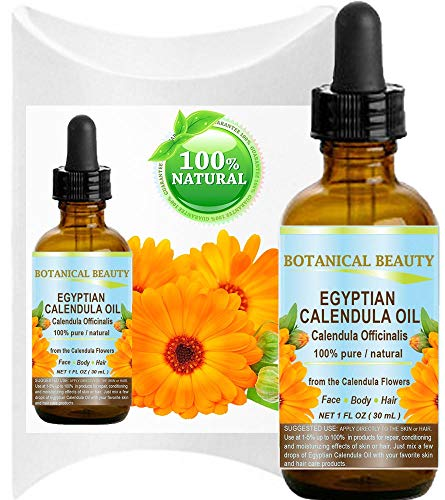 CALENDULA OIL Egyptian Calendula Officinalis Marigold Oil 100% Pure Natural for Face, Skin, Body, Hair, Nail Care 1 Fl.oz.- 30 ml Skin Moisturizer, Antioxidant Serum by Botanical Beauty