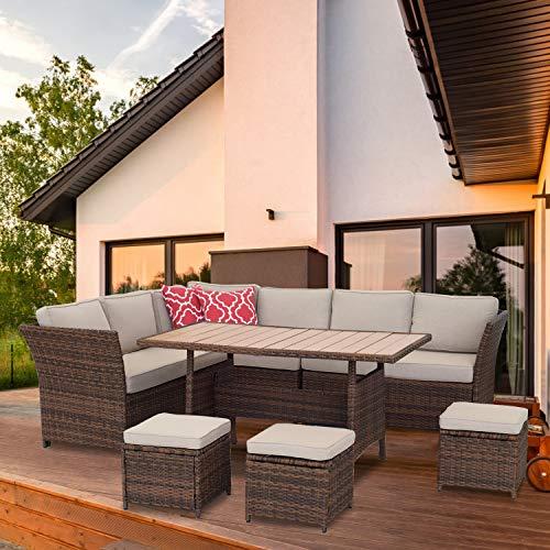 Aclumsy - Juego de 7 piezas de conversación al aire libre para todo tipo de clima, sofá seccional de mimbre y mesa de comedor con otomano, marrón