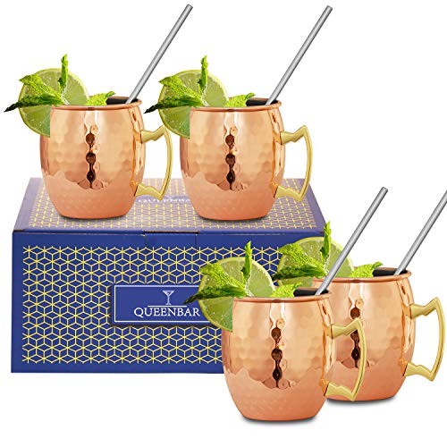 QUEENBAR Moscow Mule Mugs Set, 18 Oz Coffee Copper Mugs Cups, Stainless Steel Lining, Set of 4, Cocktail Recipe Book