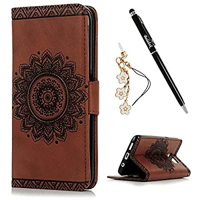 S7 Edge Case,Samsung Galaxy S7 Edge Case - Badalink 3D Embossed Flower Wallet Magnetic Flip Cover PU Leather Kickstand Card Holders Soft TPU Inner Case Hand Strap & Dust Plug & Stylus -