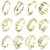 LOLIAS 12Pcs Open Toe Rings for Women Girls Arrow Adjustable Toe Band Ring Gifts Jewelry Set,Gold