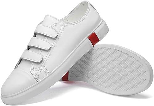 Baskets pour Hommes Sports Patineur Chaussures Crochet Et Boucle Sangle Bas Top Confortable en Cuir Tige en Cuir Chaussures De Marche Durable Abrasion Résistant,Chaussures de Cricket