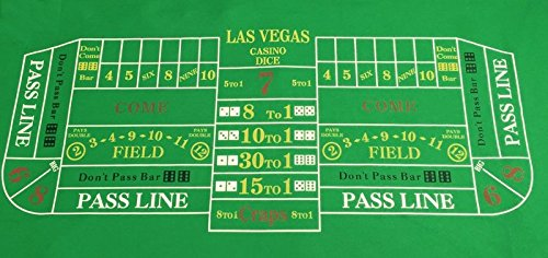 Große Las Vegas Craps Filz–6ft BY 3Ft + Paar Blau Würfel/Craps