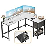 Cubiker L-Shaped Computer Desk, Home Office Corner Desk with Non-Woven Drawer, Sturdy Writing Table, Space-Saving, Easy to Assemble, White