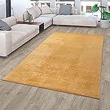 TT Home Alfombra Salón Pelo Corto Monocolor Diseño Moderno Lavable Amarillo Dorado, Color:Amarillo Oro Ocre, Tamaño:80x150 cm