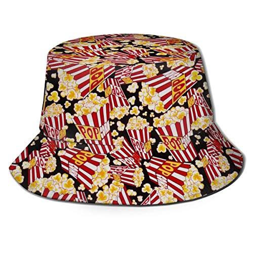 Lawenp Sombrero de Cubo de Palomitas de maz con Estampado Transpirable Unisex, Gorra de Sol de Pescador al Aire Libre de ala Ancha para Mujeres Hombres Adolescentes