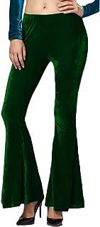 Women Solid Elastic Waist Trousers Velvet Bell Bottom Pant
