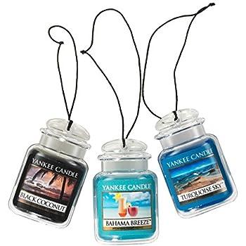 Yankee Candle - Ambientador colgante para coche (3 unidades, aroma a brisa de Bahama, coco negro y cielo turquesa)