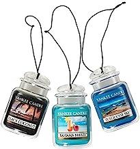اتومبیل شمع Yankee Jar Ultimate Freshener Air Hanging Ultimate Freshener 3-Pack (نسیم بههاما ، نارگیل سیاه و آسمان فیروزه ای)