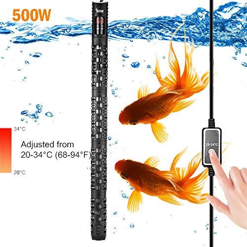 Allomn verwarmer voor aquarium, automatische verwarmer voor aquarium, warmer, 20-34 °C, temperatuur verstelbaar met zuignap, bescherming voor aquarium 50-350 l, 500W 150-350L