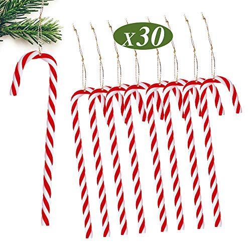 MEJOSER 15cm 30 Pezzi Bastoncini di Zucchero per Albero di Natale Rossi Bianchi Plastica Decorazioni Natalizie Ornamenti Natalizi Accessori da Appendere Abbellimenti Fai da Te