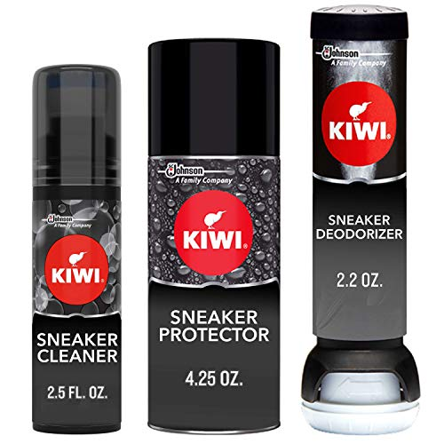 KIWI Sneaker and Shoe Cleaner Kit   Deodorizer for Shoes, Sneakers, Leather and More   1 Cleaner, 1 Protector, 1 Deodorizer