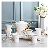 Beautiful Fancy Tea Cups Set, Portable Kungfu Tea Set, 8 Pieces Gold Trim European Style Afternoon Tea Drinkware Coffee Set For Party And Dinner Glazed Porcelain Coffee, Tea Mugs Gifts for Women and M