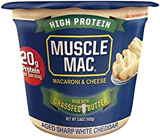 Sponsored Ad - Muscle Mac, Microwavable Macaroni & Cheese Cups, Aged Sharp White Cheddar, Made With Real Cheese and Butter...